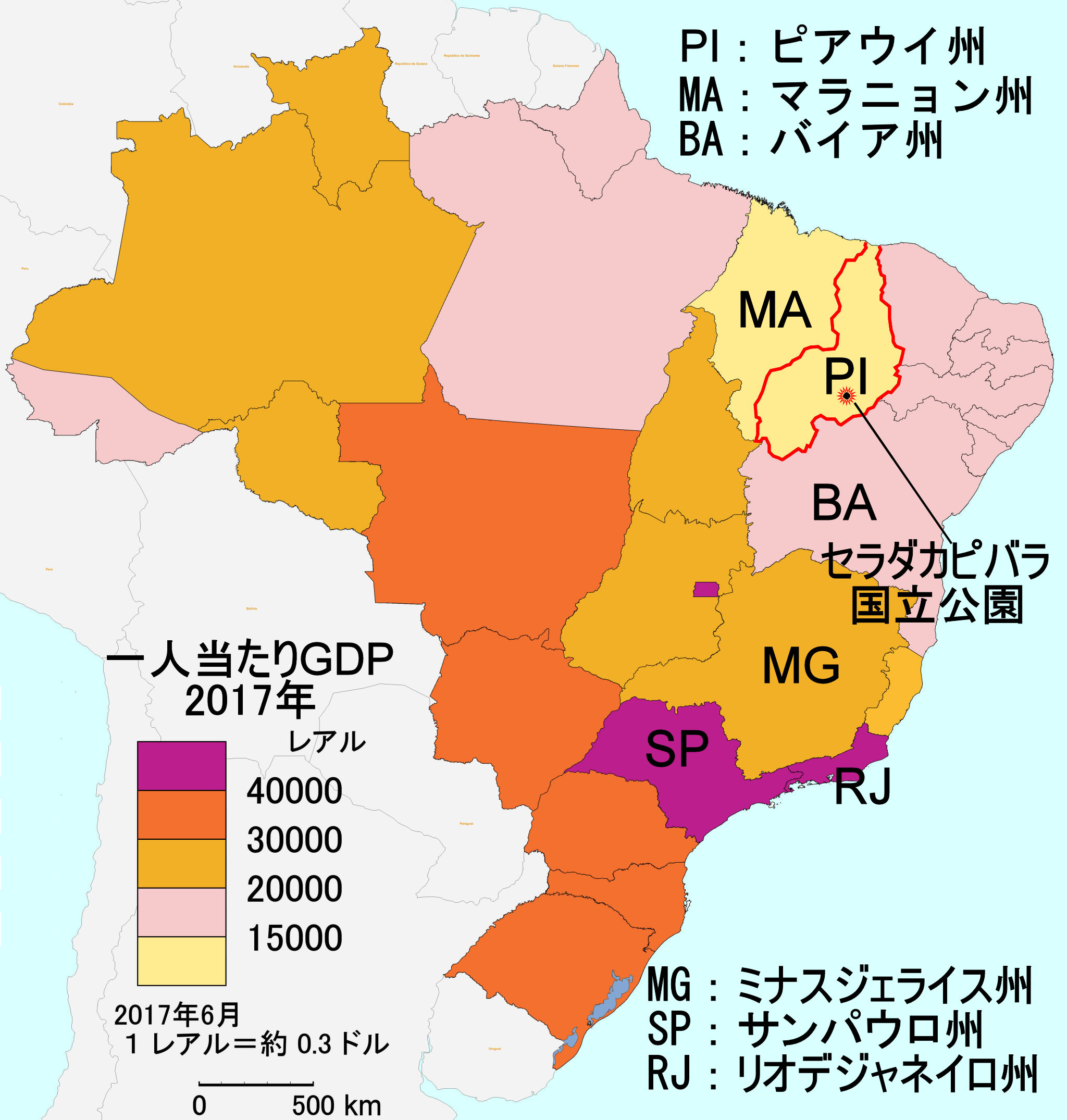 Map of GDP per capta Brazil