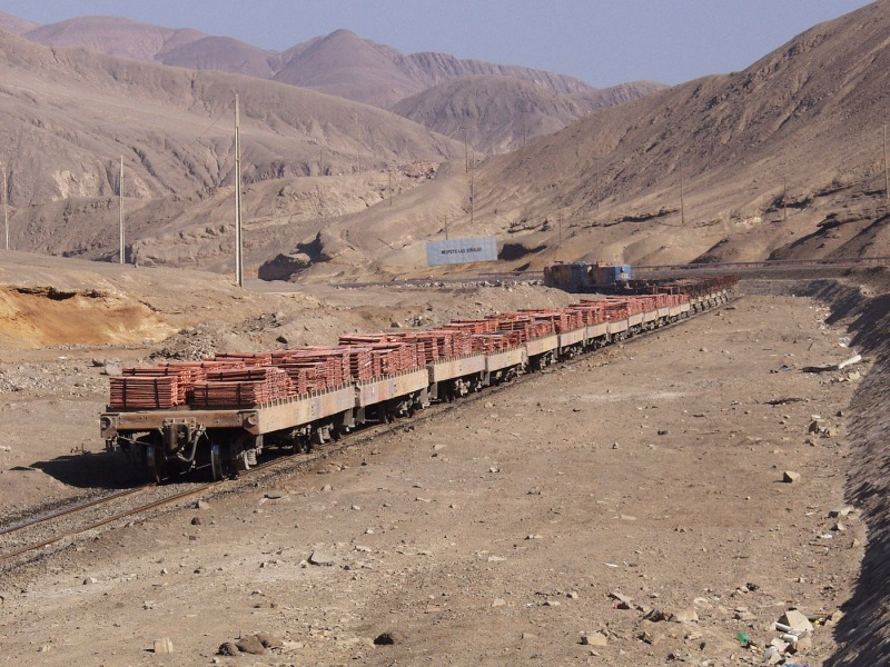 Train from Chuquicamata to Antafagasta transporting copper ingot