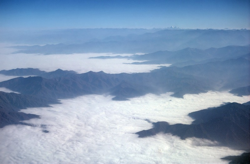 Sea fog (Garúa) of the Peru Desert seen form the sky
