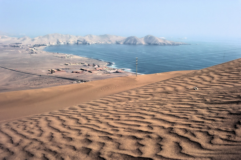 Coast of coastal desert in the central Peru